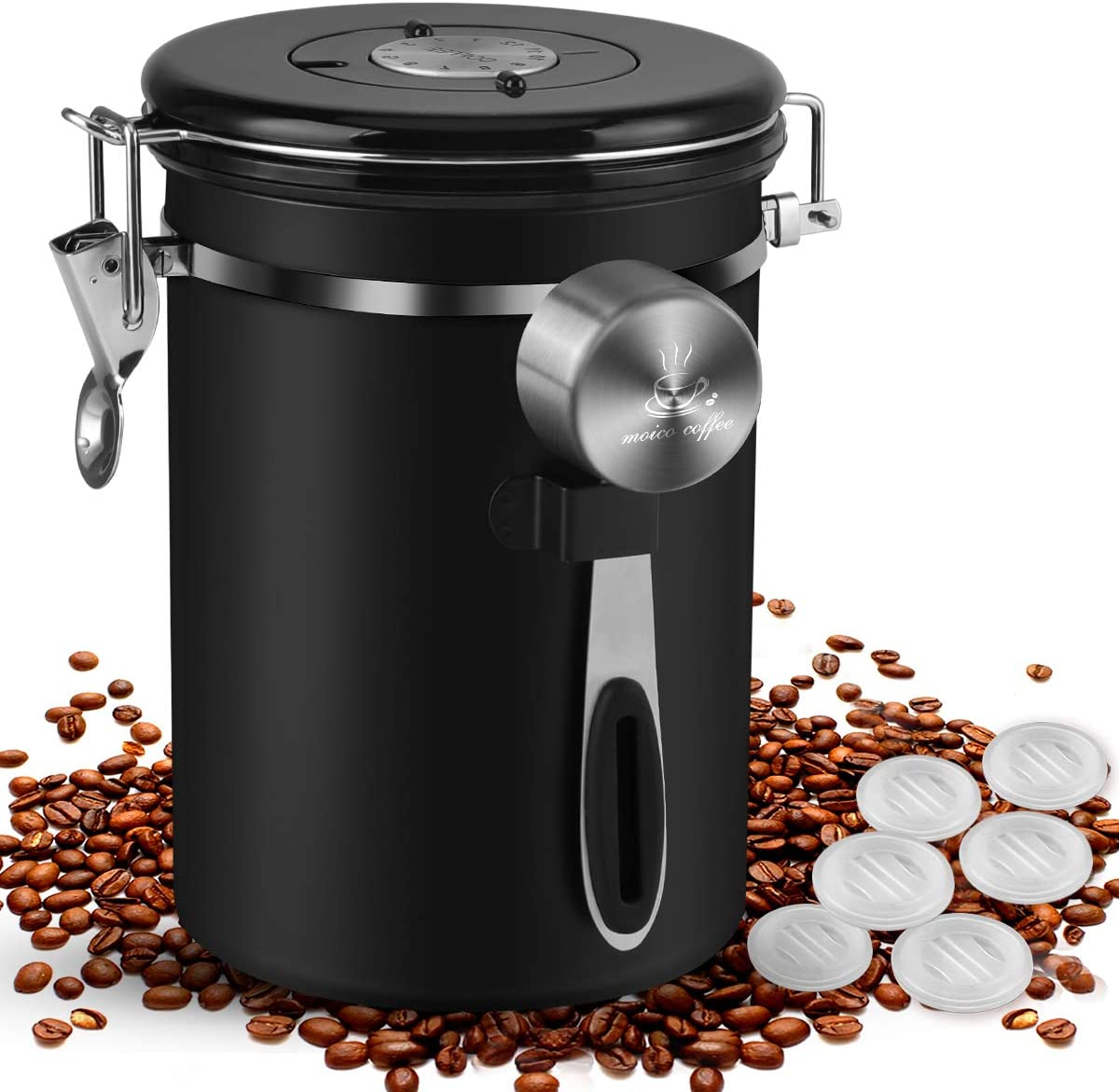 Coffee Canister, MOICO 22oz Stainless Steel Airtight Coffee Bean Storage Container with Scoop, Large Capacity Coffee Jar with Date Tracker, Scale Line, One-Way Co2 Valve (Extra 6 PC) - Black