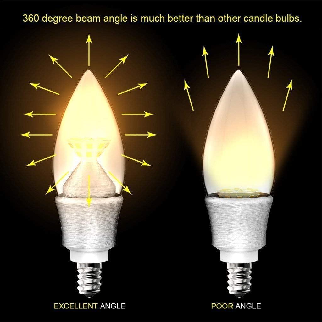 B11 Clear Candle Light Bulb 40-Watt Equivalent BJL E12 LED Candelabra Bulbs 24 Warm White 2700-Kelvin Chandelier Bulbs 2-Pack Not Dimmable 4.5-Watt