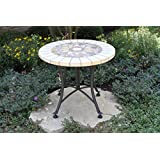 Outdoor Interiors Marble Mosaic Accent Table With Metal Base, 24 Inch,  Charcoal