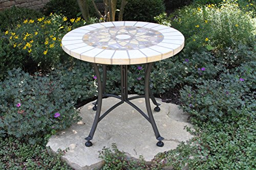 Outdoor Interiors Marble Mosaic Accent Table with Metal Base, 24-Inch, Charcoal - Patio Table Finish