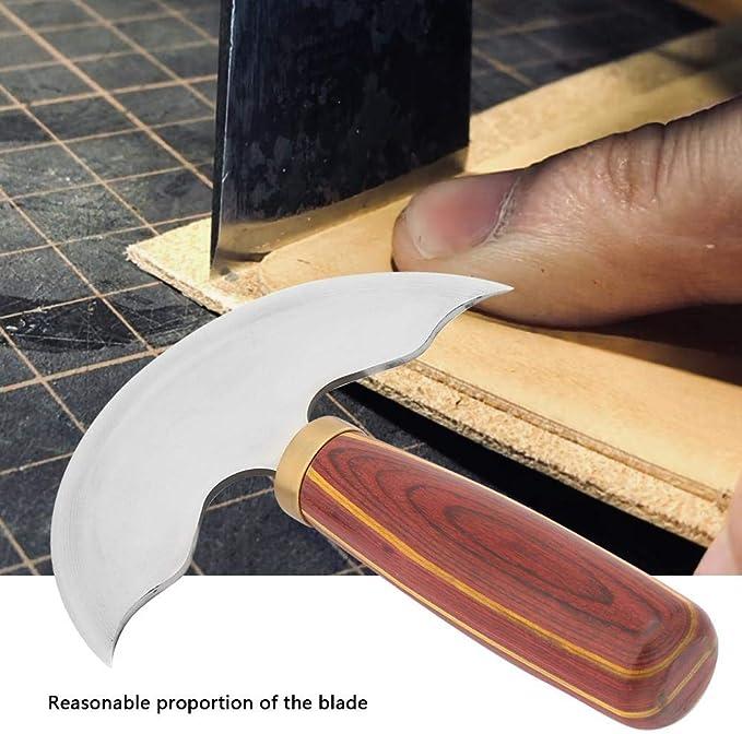 Cuchillo de Cuero de Media Luna con Mango De S/ándalo Mango de Alta Velocidad de Acero Cuchillo de Cuero para Bricolaje Corte de Velero