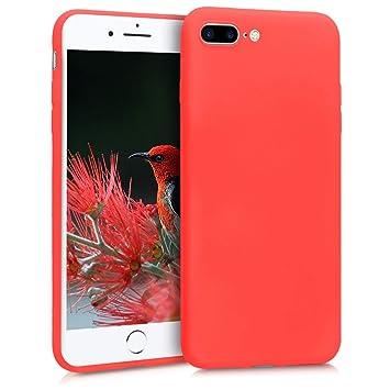 kwmobile Funda para Apple iPhone 7 Plus / 8 Plus - Carcasa para móvil en TPU Silicona - Protector Trasero en Rojo neón