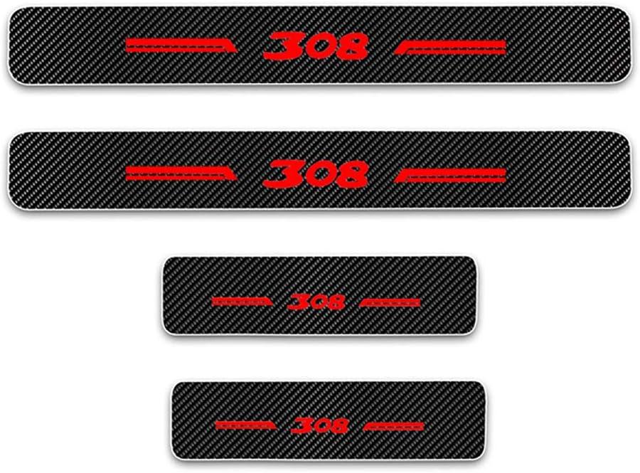 Protecci/ón Autom/óviles Desgaste Puerta Door Sill Originales Accesorios Dise/ño Styling Embellecedores Engomada NA 4 Unids Coche Tiras Umbral Fibra de Carbon para Peugeot 308