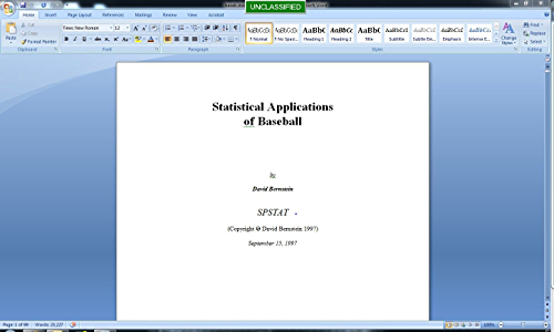 Statistical Applications of Baseball (Statistics and Sports Book 1)