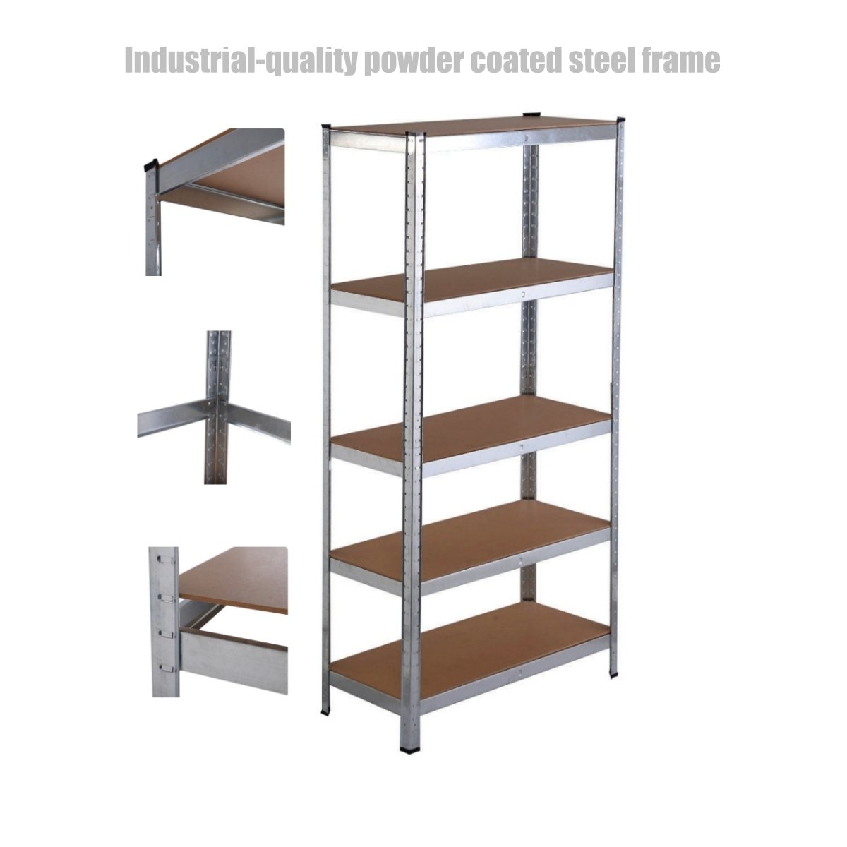 5 Tier Heavy Duty Shelf School Office Home Garage Solid Steel Metal Storage Rack Space-Saving Design Adjustable Height Shelves - 35.4'' x 15.7'' x 70.8'' Silver #1314