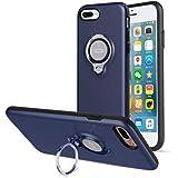 iPhone8 Plus 対応 ケース/iPhone7 Plus対応 ケース ICONFLANG 360度回転リンググリップ携帯ケース、iPhone 7 Plus/ 8 Plus用デュアルレイヤー耐衝撃性保護 磁気ブラケットに取り付ける可能(紺)