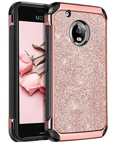 to G Plus (5th Generation) Case, BENTOBEN Glitter Faux Leather 2 in 1 Slim Hard Laminated with Luxury Shiny Chrome Shockproof Protective Case for Motorola Moto G5 Plus,Rose Gold ()