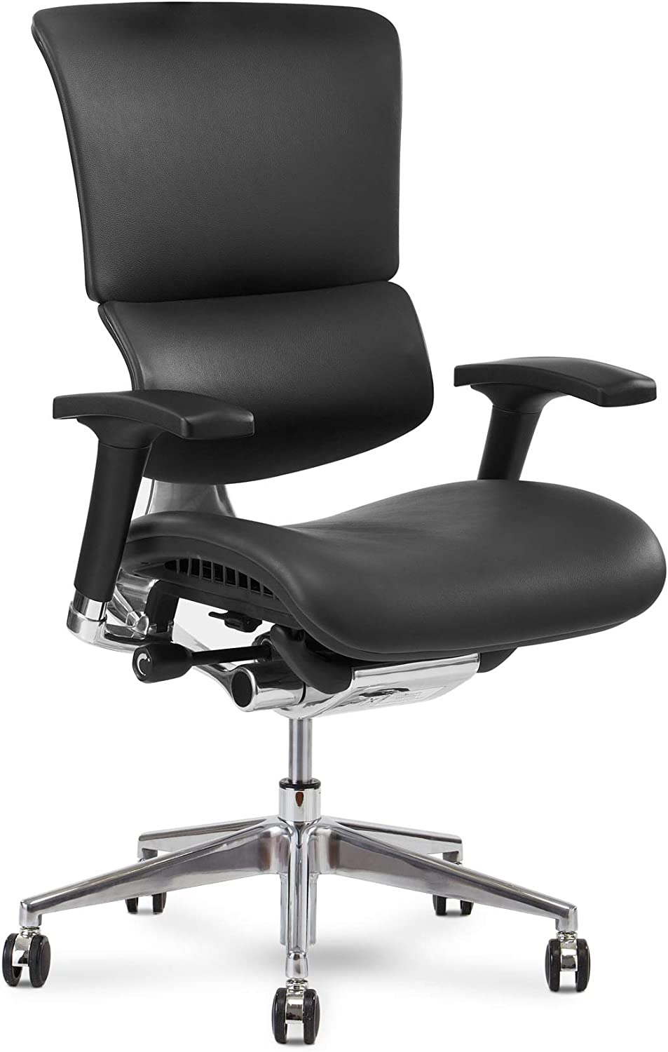 X Chair Office Desk Chair (X4 Black Leather Wide) Ergonomic Lumbar Support Task Chair Breathable Mesh, Adjustable Arms, Executive, Drafting, Gaming Computer Home or Office Chair