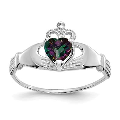 1a95fad2833d75 Amazon.com: 14k White Gold Cubic Zirconia Cz June Birthstone Irish Claddagh  Celtic Knot Heart Band Ring Size 7.00 Fine Jewelry Gifts For Women For Her:  ...