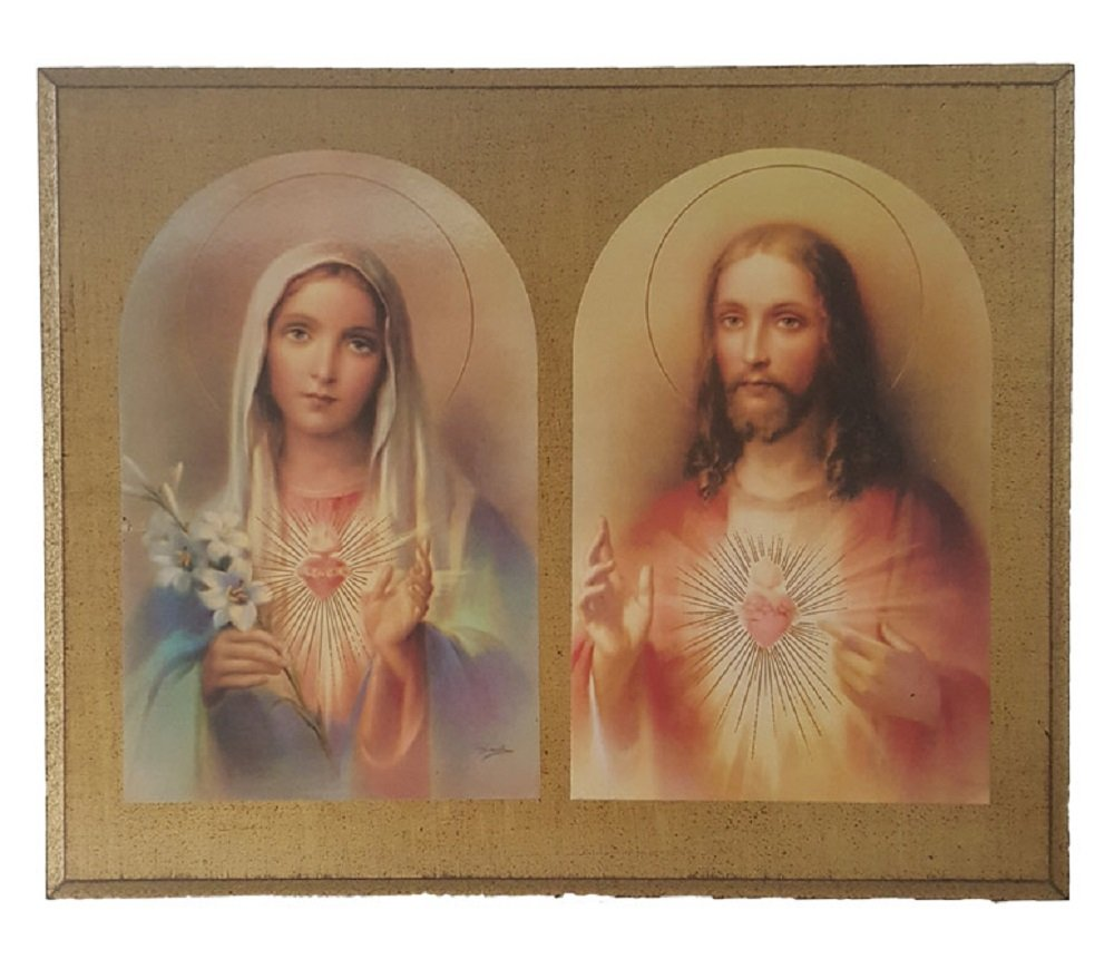 Sacred Heart of Jesus and Immaculate Heart of Mary by Guiseppe Vicentini Florentine plaque, 10 x 8.5 inches. Made in Italy.