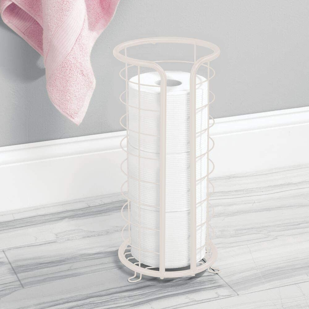 for Bathroom//Powder Room White Holds Mega Rolls mDesign Decorative Metal Free Standing Toilet Paper Holder Stand with Storage for 3 Rolls of Toilet Tissue