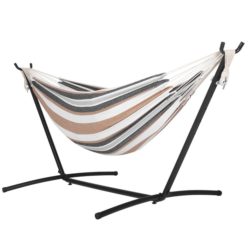 Best Sunshine Double Hammock With space saving Steel Stand, 2 Person Portable Hammock, Large hanging swing, Portable combination for camping trips, strong and durable, 450 LBS.
