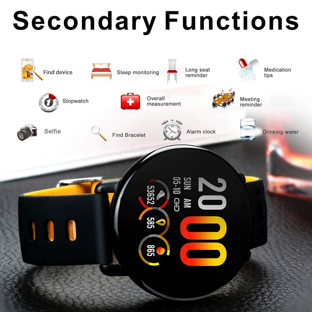 for Android iOS, Sport Smart Watch, Fitness Calorie Blood Pressure Heart Rate Monitor, Remote Photography Smart Bracelet (Yellow) by YNAA (Image #2)