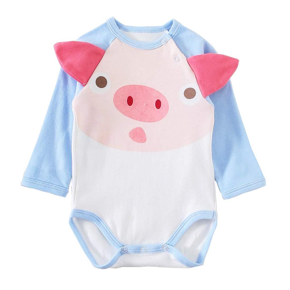 PAUBOLI Baby Animal Onesie Lovely Pig Romper Infant Long Sleeve Bodysuit 0-24 Months