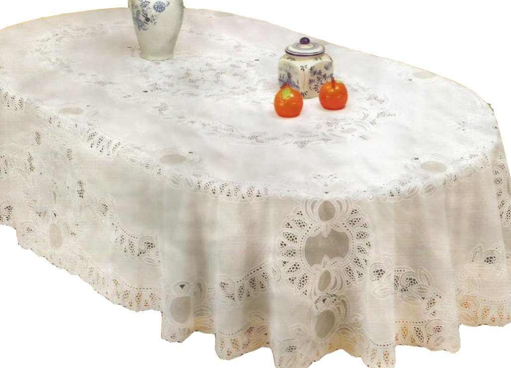 RJ Quality Product 412-60x90 Oval Vinyl Crochet Tablecloth, Off White