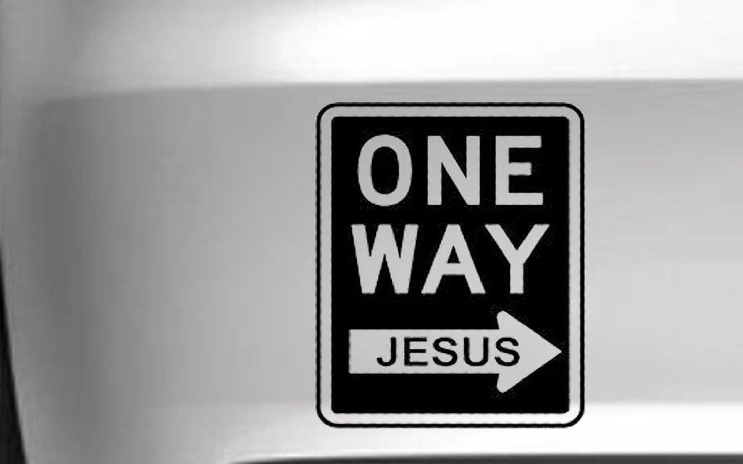 One Way Jesus車ビニールデカールビニールデカールJDM 4 x 4 Funny , Die Cut Vinyl Decal for Windows車、トラック、ツールボックス、ノートパソコン、ほぼすべてmacbook-ハード 12 Inch グレイ Titans-Unique-Design-120139-GRY-12-In