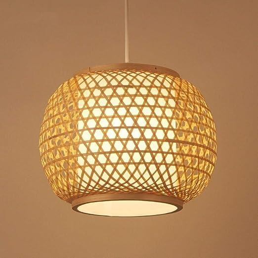 MUMUMI Pantalla de bambú tejido de mimbre bambú ratán Lámparas lámpara moderna Natural Dormitorio Sala de la lámpara de techo colgante de estar Cocina E27 luz de techo: Amazon.es: Hogar