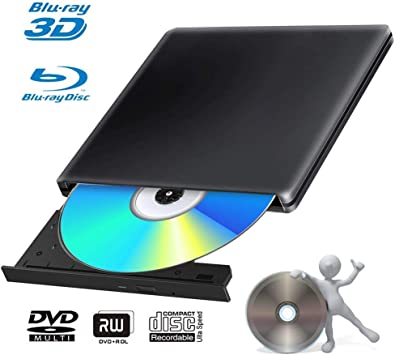 BLU Ray 4k Grabadora DVD Reproductor Externo Portatil USB 3.0 Grabadora de Quemador Regrabadora Lector de CD DVD Disco para Windows7/8/10,Linux,Mac Os, PC: Amazon.es: Electrónica