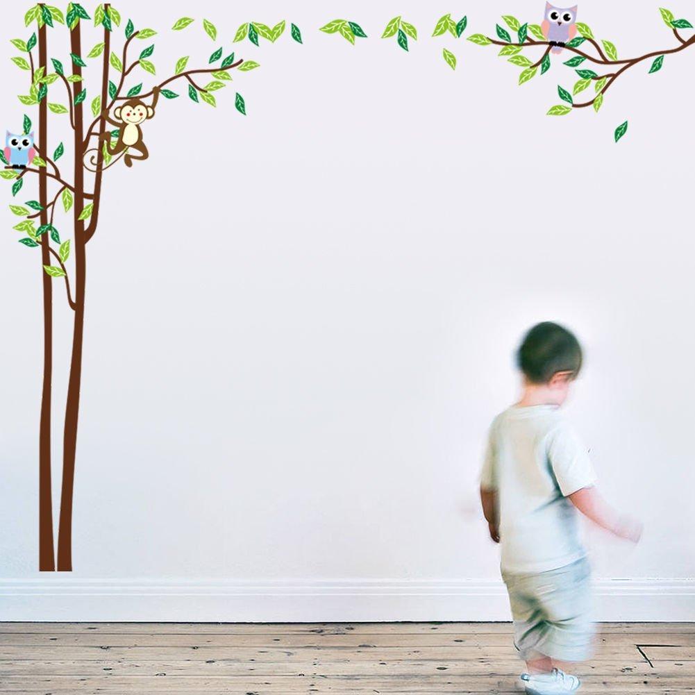 BIBITIME Huge Jungle Owl Monkey Wall Decals Kids Bedroom Baby Nursery Decor Green Leaves Tree Animal Vinyl Stickers Art Mural for Living Room Bedroom