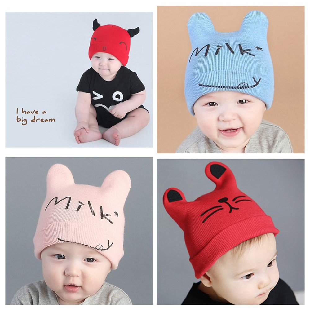 11a95d7e87d Amazon.com  Alinshi Infant Kids Soft Lovely Knit Cap (Ox Horn