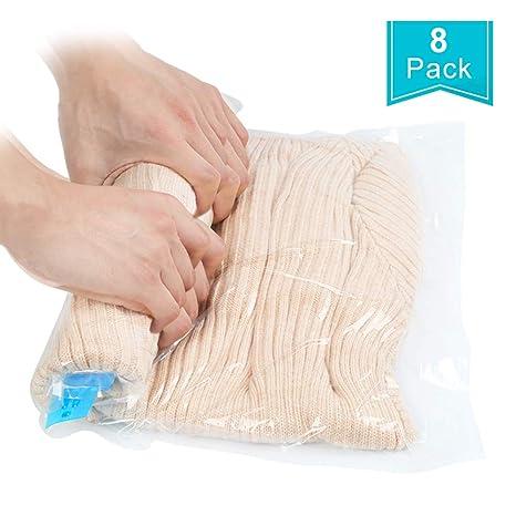 Qliver 8pcs unidades Bolsas al vacío para ropa edredones almohadillas Ahorro de espacio y viaje Bolsa Almacenaje al Vacío