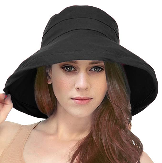 913065eb Simplicity Women's Cotton Summer Beach Sun Hat with Wide Fold-Up Brim Black