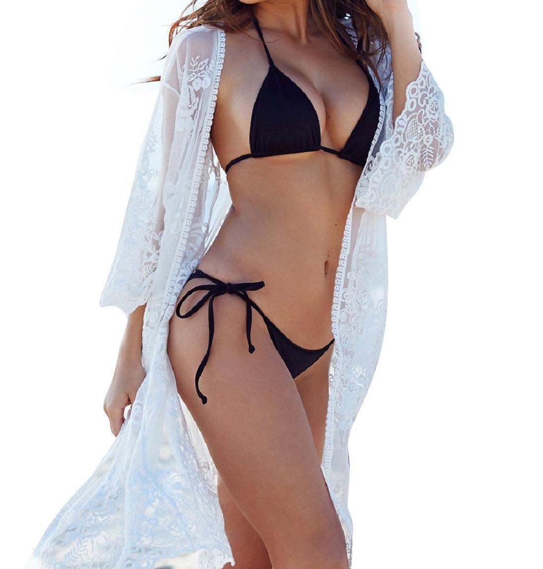 Women's Cover Ups for Swimwear Beach Kimono Lace Coverups (White, M)