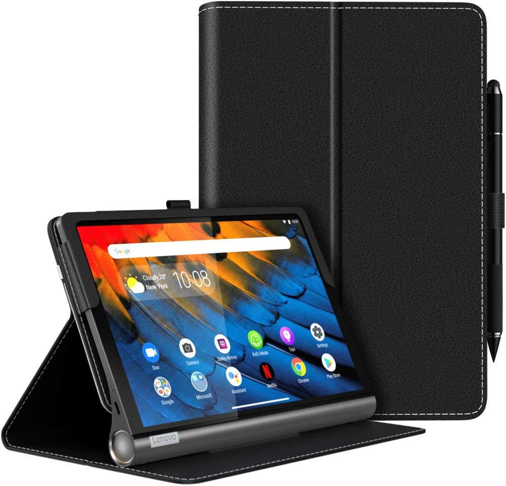 MoKo Case Fit Lenovo Yoga Smart Tab 10.1 (YT-X705F), Ultra Compact Protection Premium Slim Folding Stand Cover Case for Lenovo Yoga Smart Tab 10.1 (YT-X705F) Tablet - Black