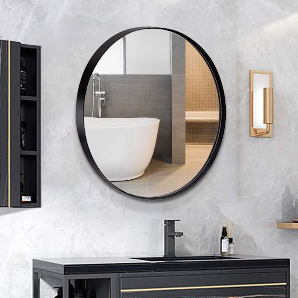 ANDY STAR Round Wall Mirror for Bathroom, 30 Inch Black Circle Mirror Modern Premium Stainless Steel Metal Frame Wall Mounted for Bathroom, Entryway, Vanity, Living Room, Bedroom