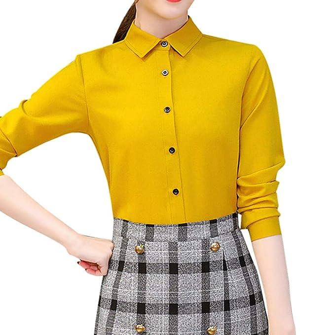 Luckycat Blusa de Mujer Chifón Carrera Sólido Oficina Moda Casual Camisas de Manga Larga Tops (