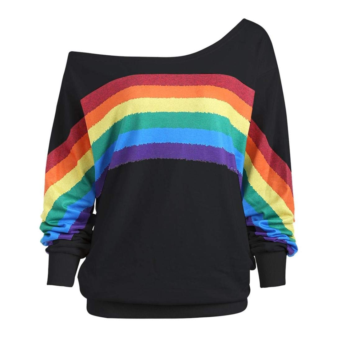 Blusa Mujer, BBestseller Camisas Mujeres Sudadera con Capucha de Manga Larga con Estampado de Arcoiris para Mujer Camisas Tapas Elástico Tops Bolsillo ...