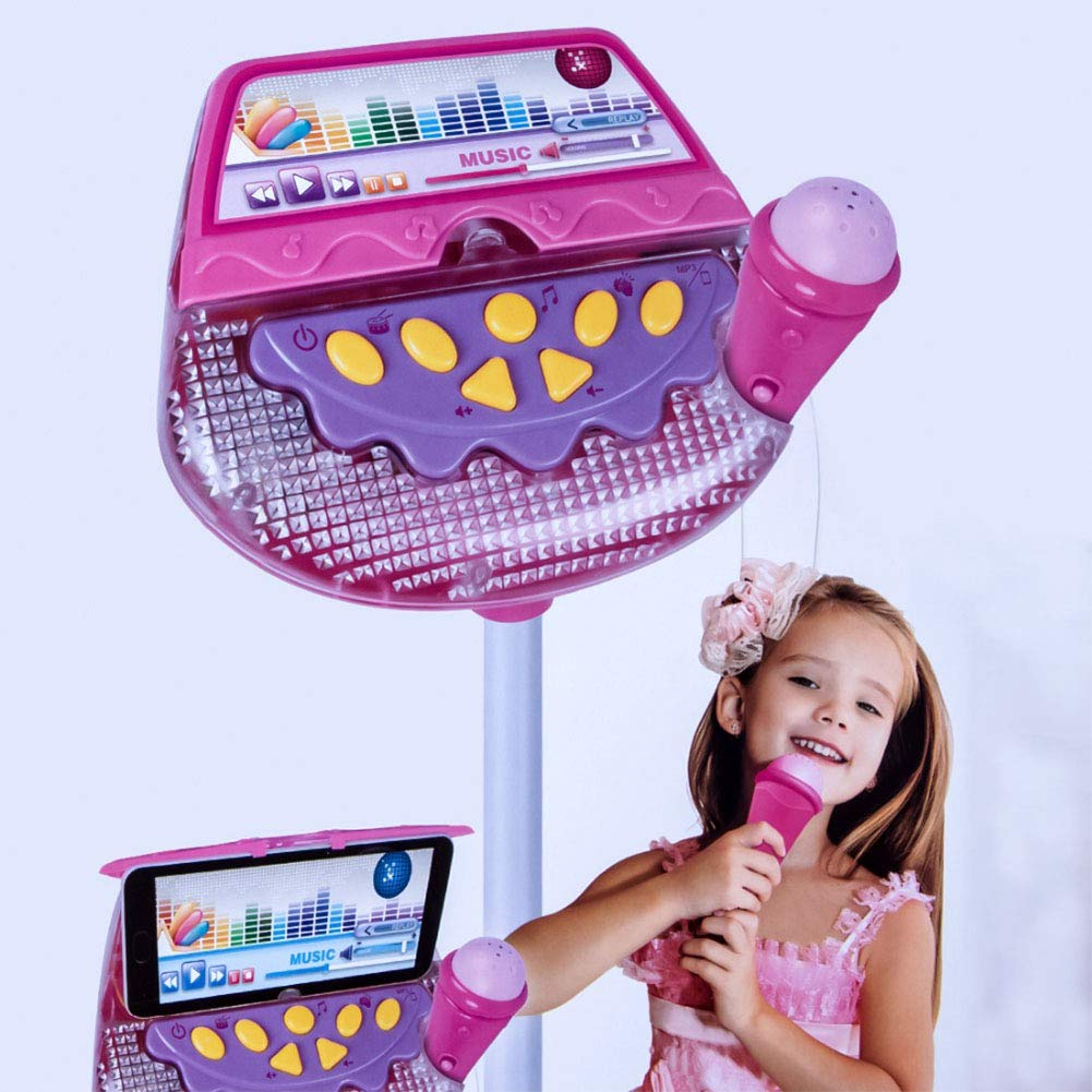 Meiyiu Kids Standing Microphone Musical Toy Stand Up Karaoke Machine Sing Toy with MP3 Microphones Disco Flashing Lights Kid Funny by Meiyiu (Image #4)