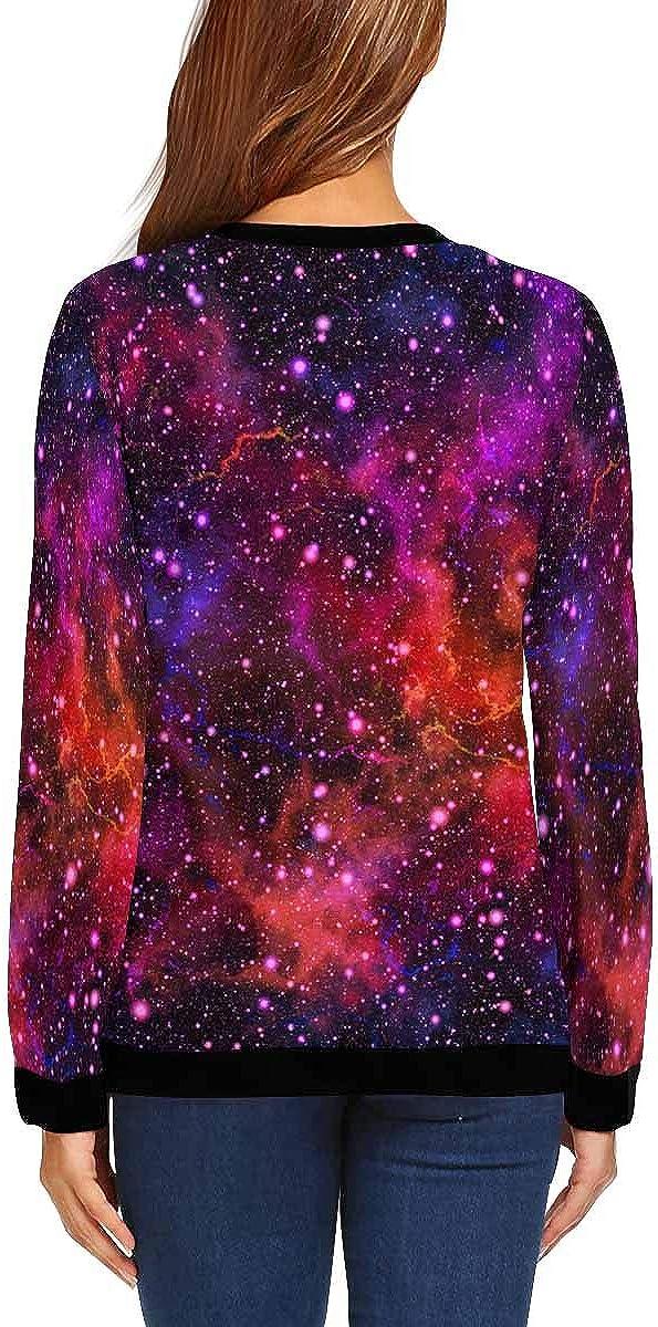XS-XL INTERESTPRINT Womens Crew Neck Sweatshirt Pullover Nebula Night Sky Casual Long Sleeve Tops