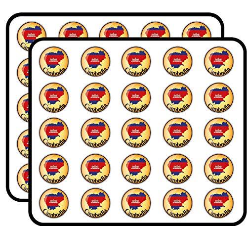 (Cambodia Map Flag Glossy Label Sticker for Scrapbooking, Calendars, Arts, Kids DIY Crafts, Album, Bullet Journals 50 Pack)