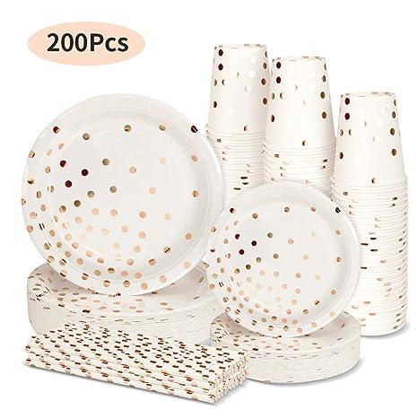 Amazon.com: Platos de papel desechables para fiestas, juego ...