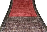 100% Cotton Sari Vintage Fabric Bandhani Printed Quilting Material Maroon Saree