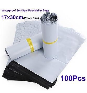 Pack de 100 bolsas de plástico con autocierre, Bolsas de plástico para correo postal, 17x30cm, Tamaño interno