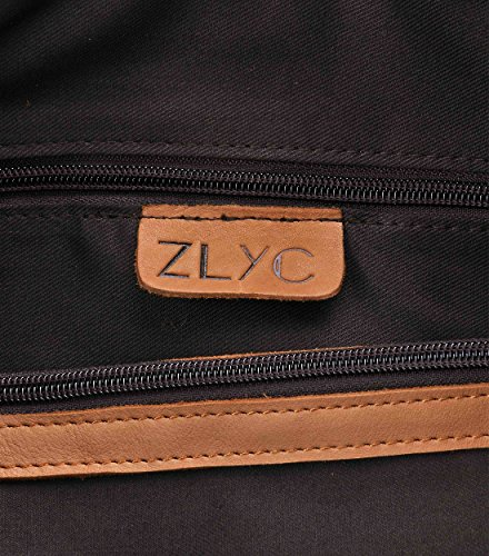 ZLYC Women Vintage Dip Dye Leather Tote Bag Handbag Large Zippered Shoulder Bag, Black by ZLYC (Image #6)
