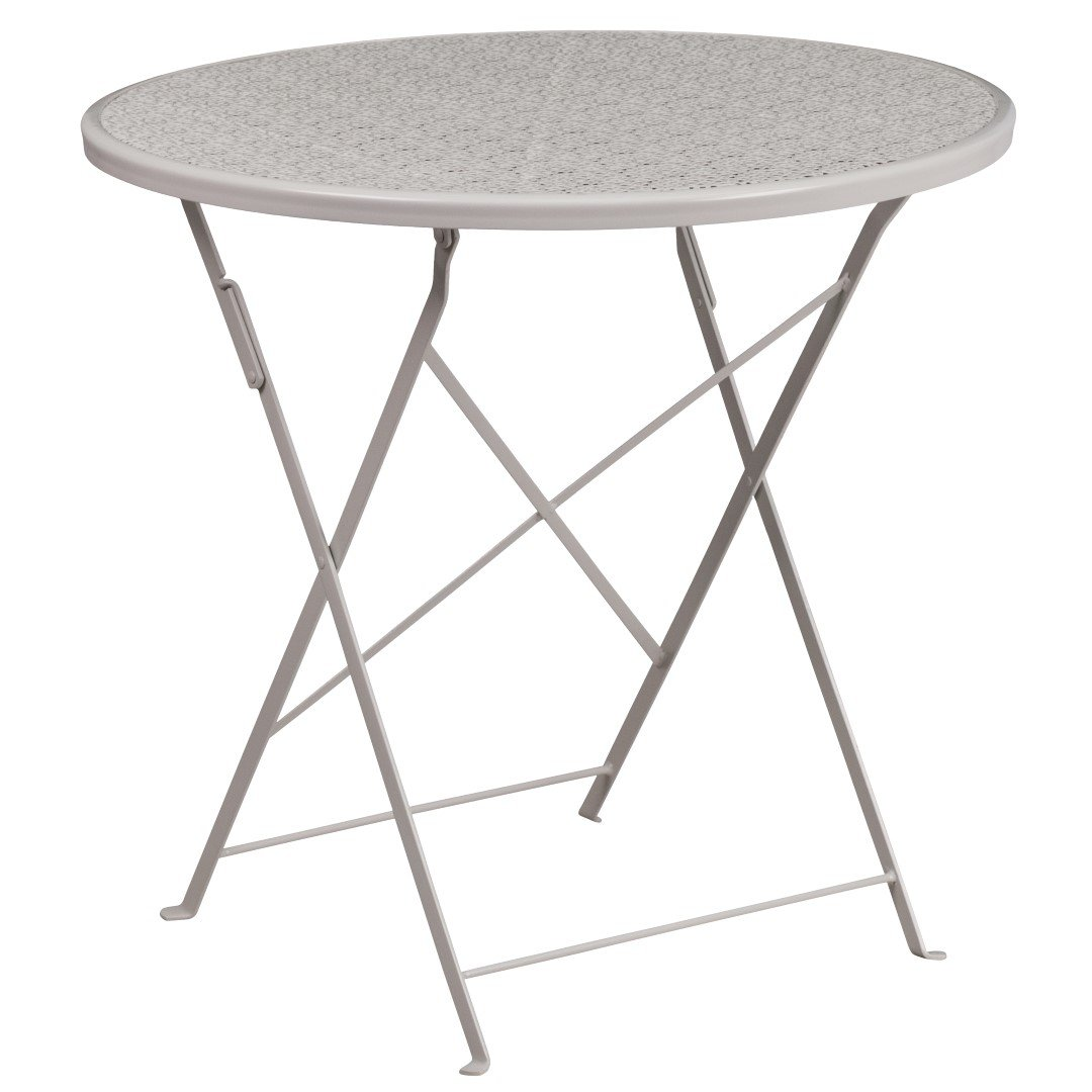 MFO 30'' Round Light Gray Indoor-Outdoor Steel Folding Patio Table by My Friendly Office