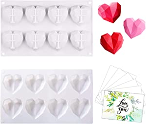 2 Pack Diamond Heart Shaped Chocolate Silicone Molds with 6 Greeting Cards, 8 Cavities Non-stick Easy Release 3D Heart Molds for Cake Baking, Chocolate, French Dessert, Candy, Ice Cube, Soap