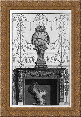 Fireplace: In a garland frieze between two eagles above the plane of a clock 19x24 Gold Ornate Wood Framed Canvas Art by Piranesi, Giovanni Battista by ArtDirect