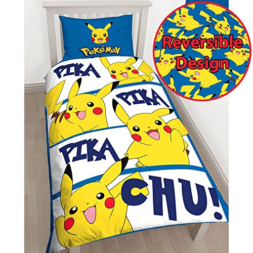 Pokémon Pikachu Single/US Twin Duvet Cover and Pillowcase Set (Pokemon Bedding Set)