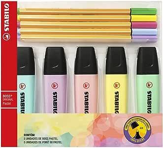 STABILO Kit 5 Marcadores de Texto Boss e 5 Canetas Point 88 04mm 55.34, Tons Pastel, 10 unidades