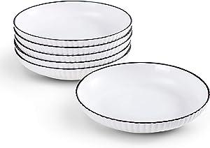 JH-JIEMER-Home 8 inch Wide and Flat Ceramic Dinner Plates Sets,Porcelain Pasta Bowls Sets,Large Pasta Salad Soup Serving Bowls,White Dishes Set,Oven Microwave Dishwasher Safe (Set of 6, Wave-White)