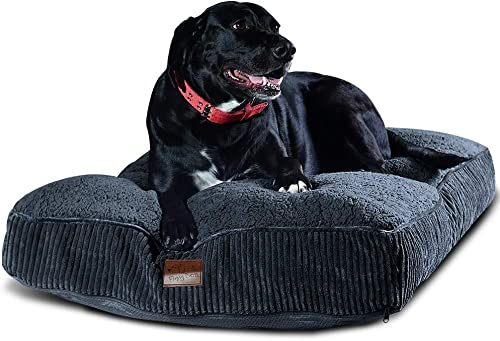 Floppy Dawg Super Extra Large Dog Bed with Removable Cover and Waterproof Liner. Made for Big Dogs up to 100 pounds and More. Jumbo Size 48 x 30 and Stuffed 8 Inches High with Memory Foam Pieces.
