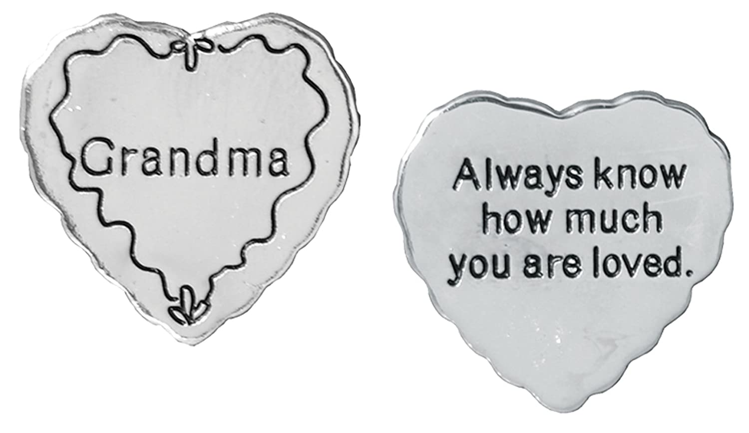 Pocket Token Charm Gift for Grandma - Always Know How Much You Are Loved - Heart Shaped Engraved Metal - 1.25 Inch