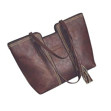 5d24d2f03fbc1 TianWlio Frauen Handtasche Damen Leder Quasten Handtasche Schultertasche  Messenger Bag Damen Satchel Tote Bags Braun