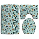 Huadduo Southwest AnimalsTipi Teepee Cactus Raccoon Arrows 3 Piece Bathroom Rug Mat Set Soft Memory Foam Bath Carpet Contour Rug With Lid Cover