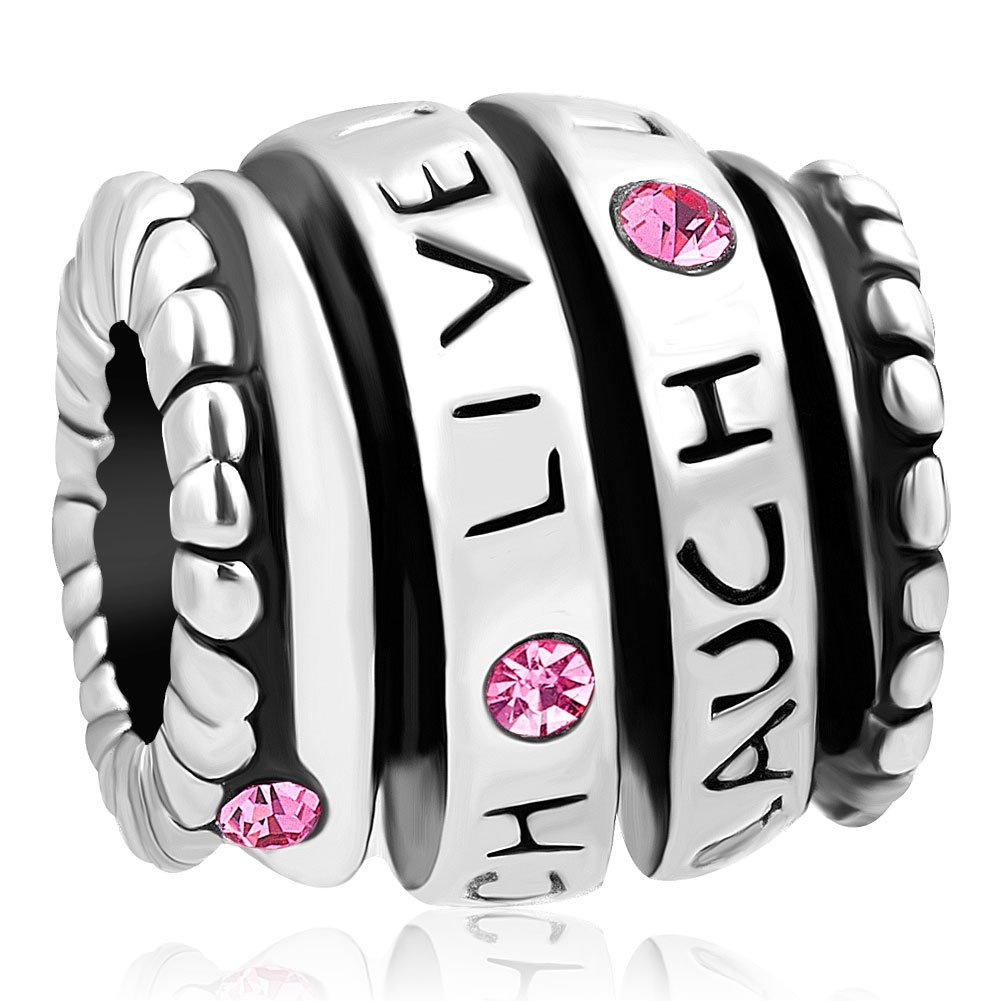 Mel Crouch Live Love Laugh Charms Crystal Charms Spiral Charm Beads for Snake Chain Bracelets