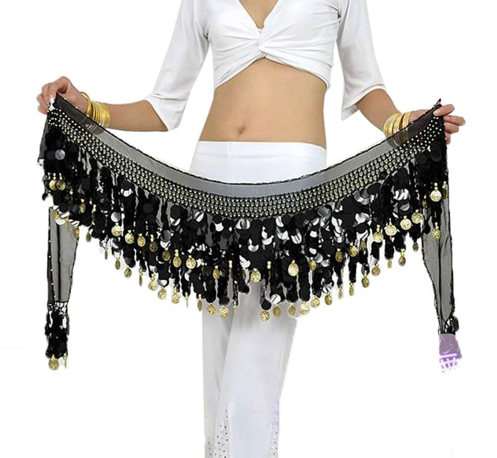 One Size Women 160cm Belly Dance Costume Double Layers Sequins Belt 88 Alloy Coins Chiffon Skirts